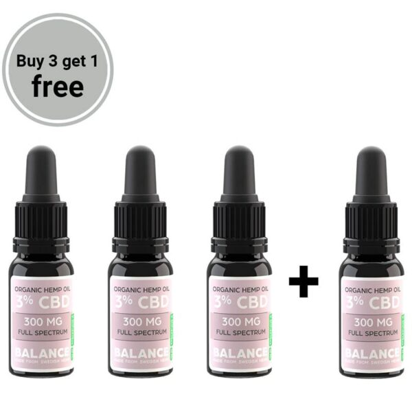 Buy 3 get 1 free bundle - CBD olja 3% (300mg)