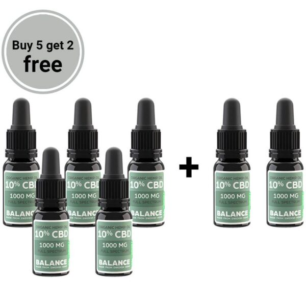 Buy 5 get 2 free bundle - CBD olja 10% (1000mg)